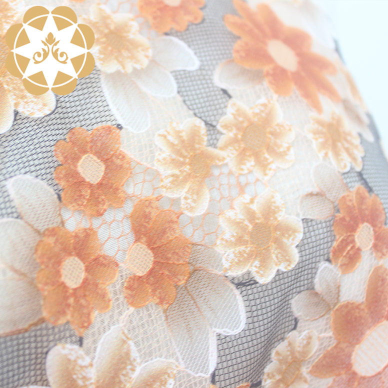 smooth printed lace fabric printed in china for cloth-5