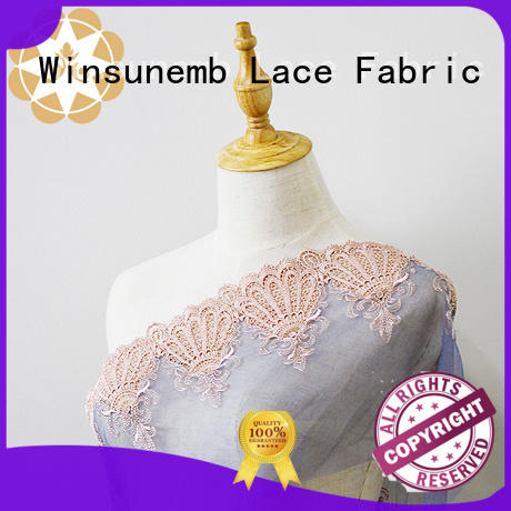 rose tulle Embroidery Lace Fabric Winsunemb Brand