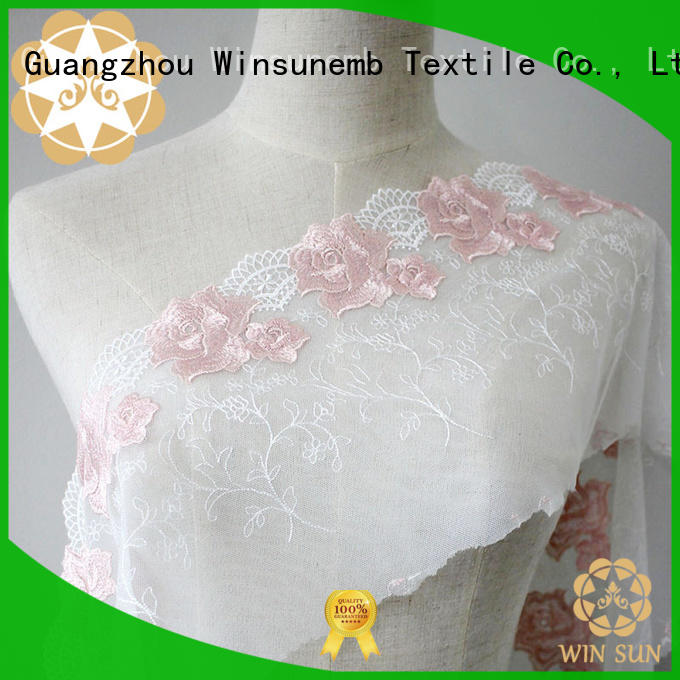 red bright rose Embroidery Lace Fabric Winsunemb
