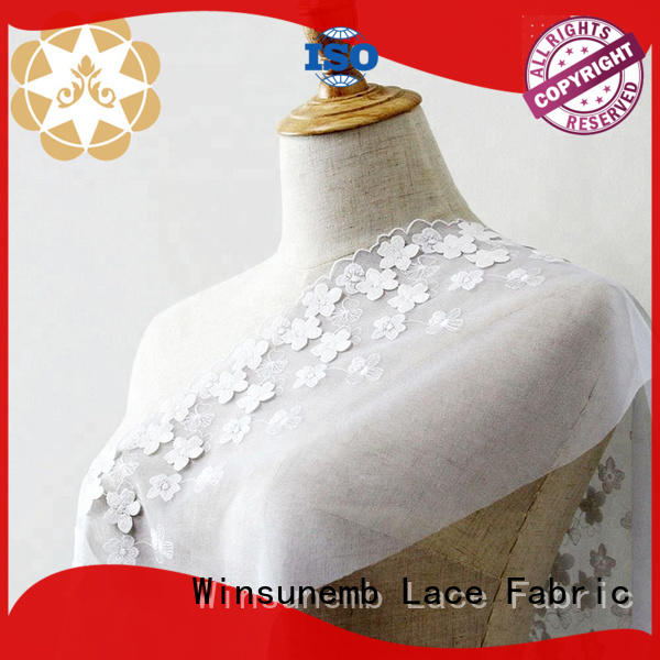 Winsunemb Brand cut mesh red lace fabric