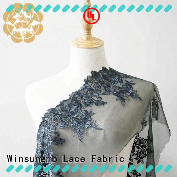 Winsunemb embroidered beaded lace fabric for apparel