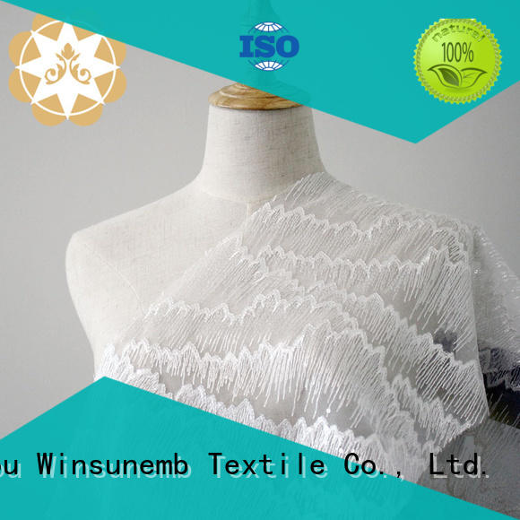 flowers crown style Winsunemb Brand Embroidery Lace Fabric supplier