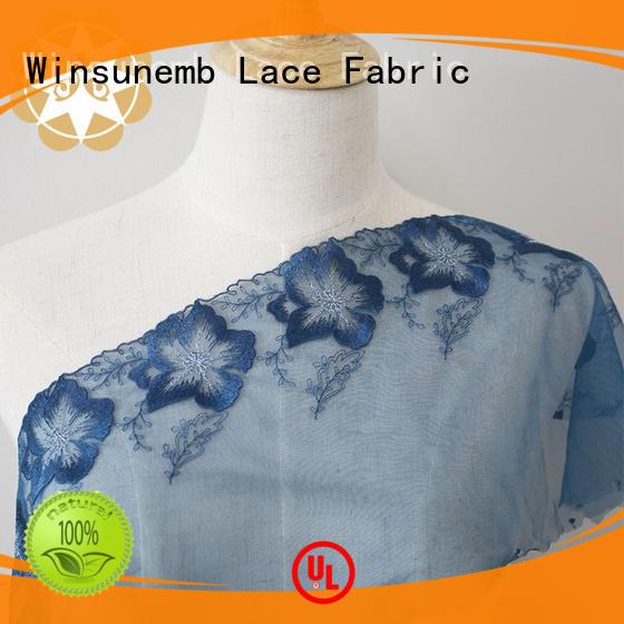 Winsunemb Brand mesh rose cut custom red lace fabric