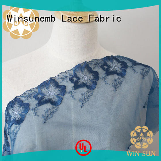 Winsunemb polyester lace material producer for apparel