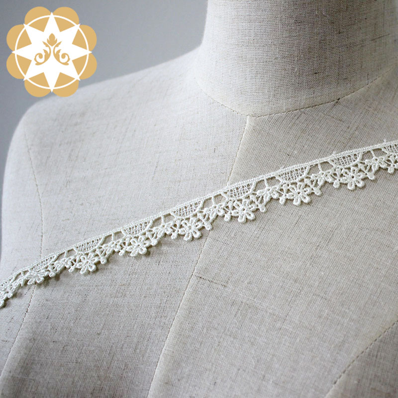 Winsunemb -Embroidery Lace Trim Hollow Cut Floral Embroidery White Lace-4