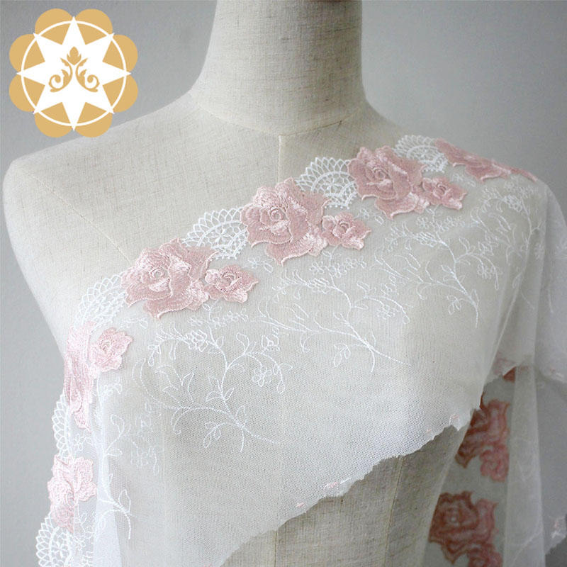 Polyester Embroidery lace Bright flowers for lingerie Wholesale