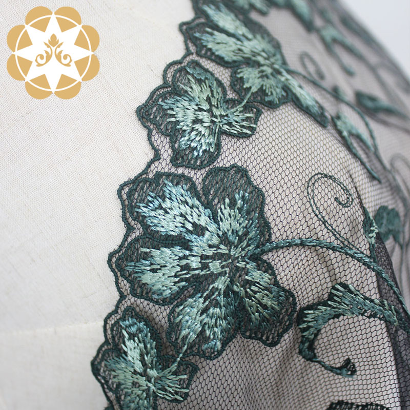 Winsunemb -Best Embroidery Lace Fabric Green Floral Mesh Lace Fabric-4