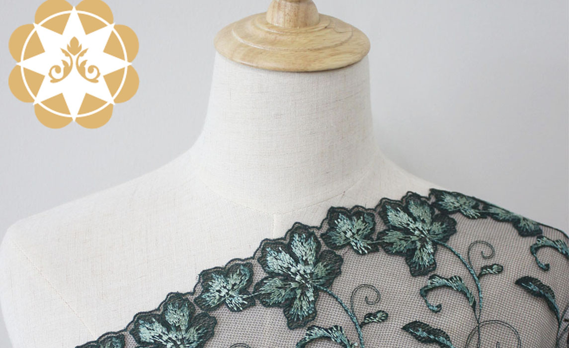 Winsunemb -Best Embroidery Lace Fabric Green Floral Mesh Lace Fabric-1