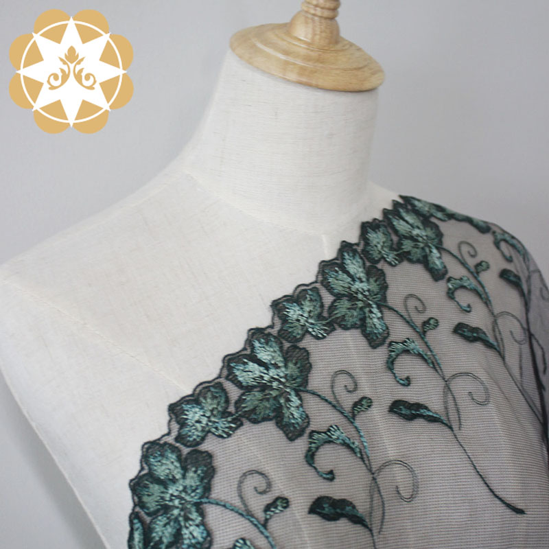 Winsunemb -Best Embroidery Lace Fabric Green Floral Mesh Lace Fabric