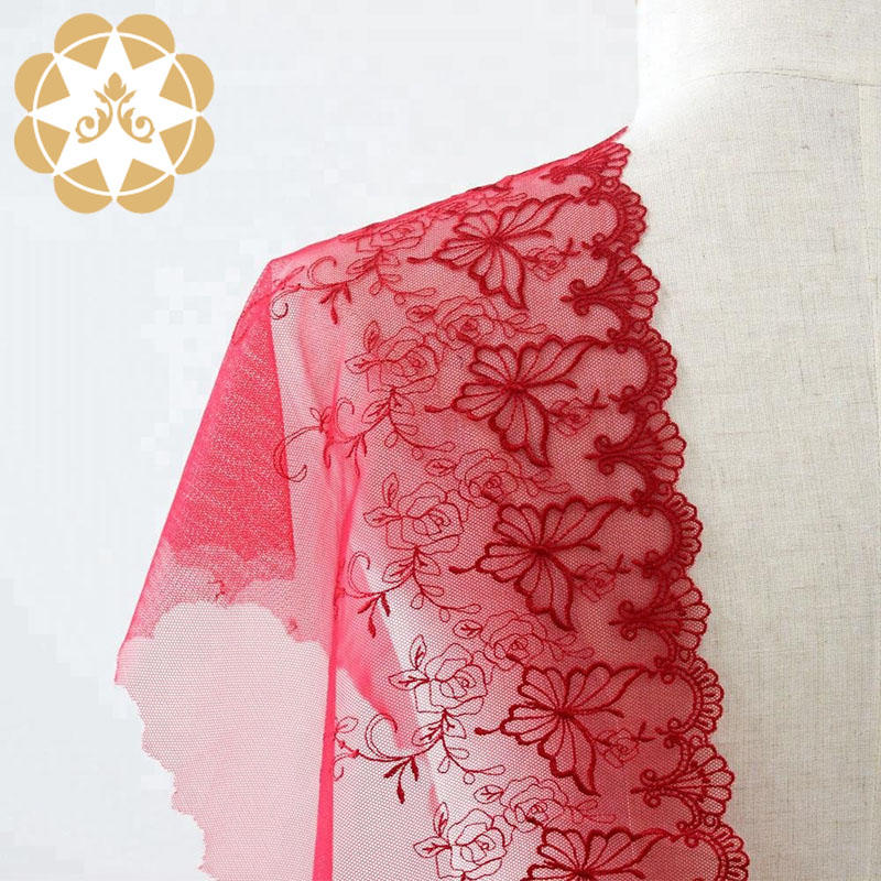 Embroidery Lace fabric Red French Mesh Fabric