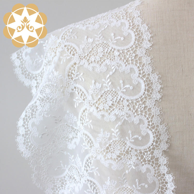Embroidery Lace Fabric  Hollow Cut Floral for Dress
