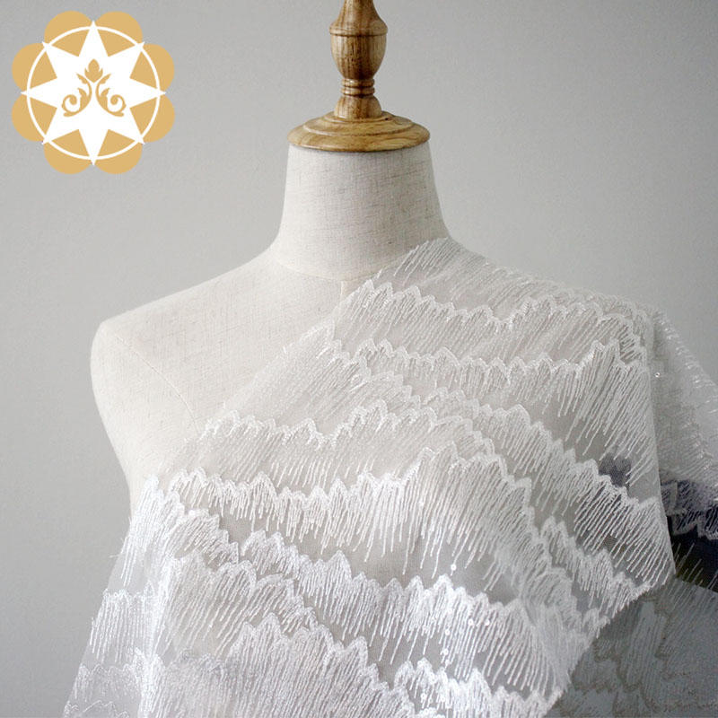Embroidery Lace Fabric For Bridal Water ripples