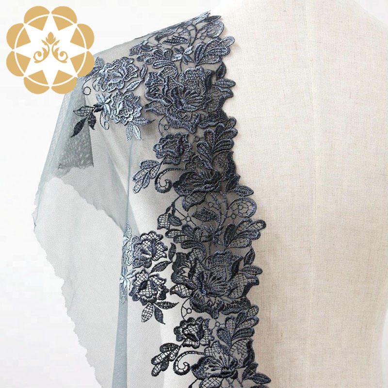 Embroidery Lace Fabric Floral Rose Mesh Lace