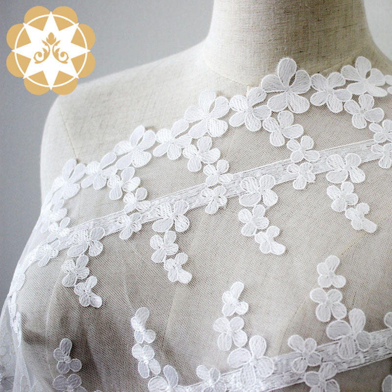 Embroidery Lace Fabric Flower  children's wear fabric for wholesale