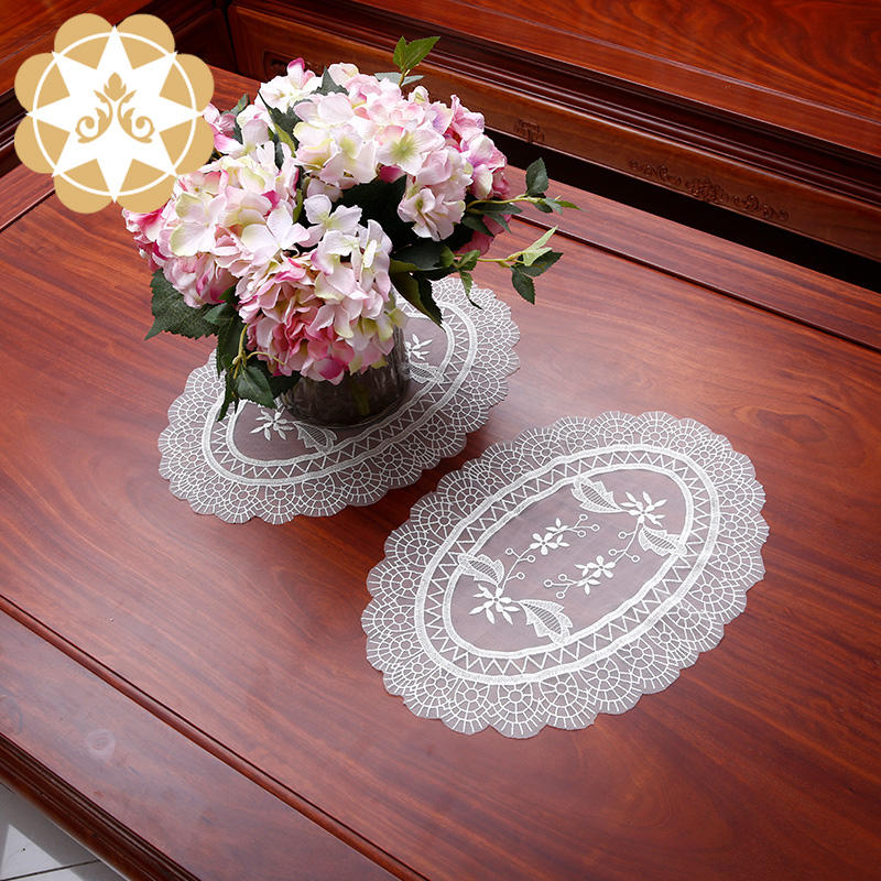 Chinese traditional beautiful big oval design Lace Doilies Place mat Wholesale