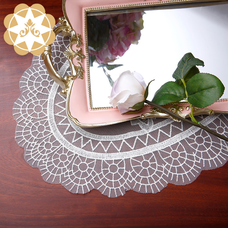 Winsunemb -Chinese traditional beautiful big oval design Lace Doilies Place mat Wholesale