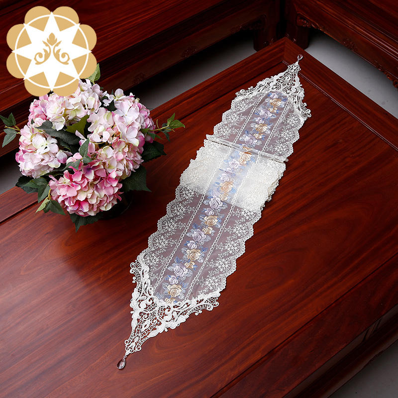 Decoration Embroidery Designs Lace Colorful Table Runner for Wedding Christmas or Party NO.P806