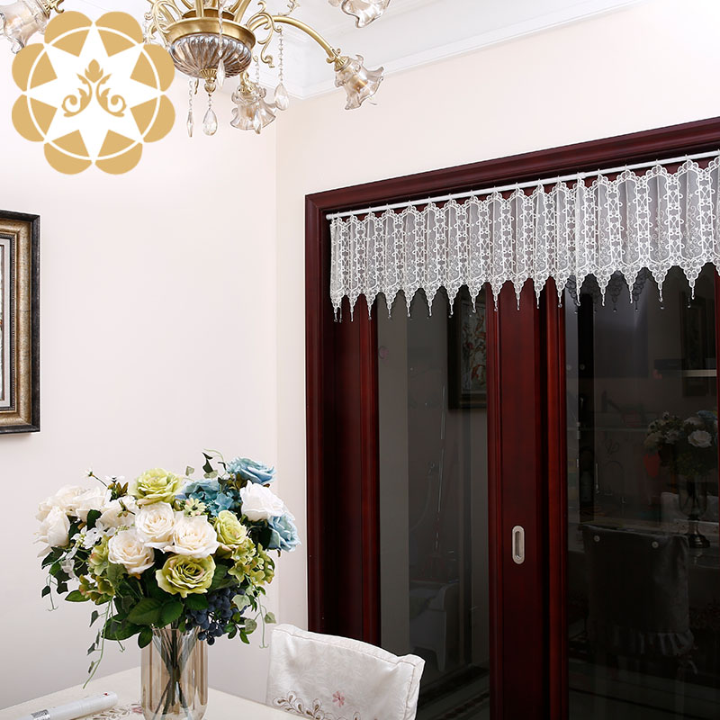 Winsunemb -Half Kitchen Tier Curtain 137 inches Width Embroidered Semi Sheer Short Curtains for Bath-2