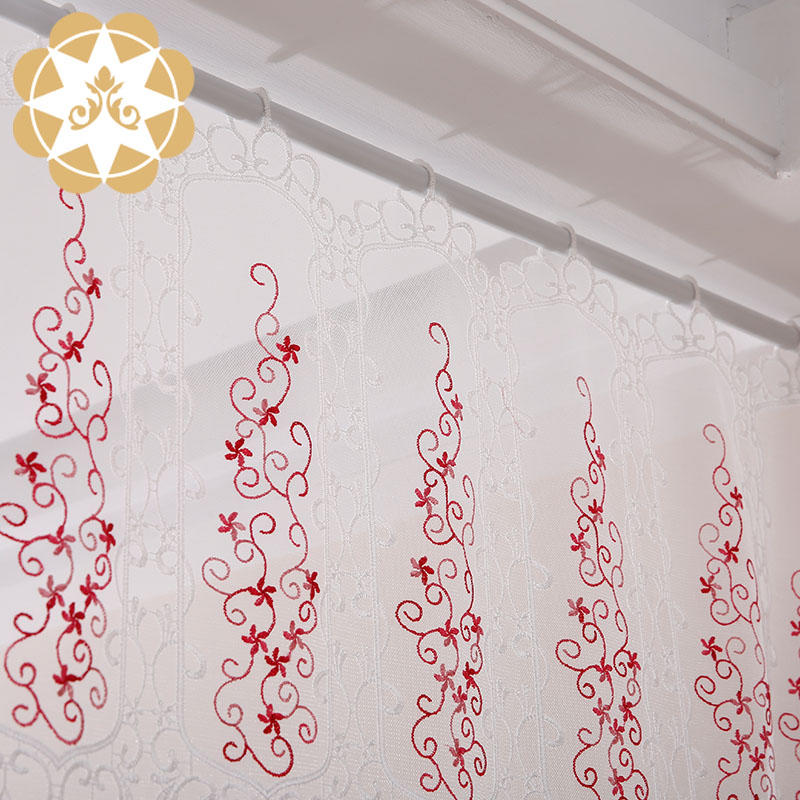 Half  Kitchen Tier Curtain 13.7 inches Width Embroidered Semi Sheer Short Curtains for Bathroom
