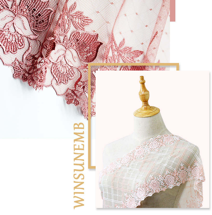 """1 yard  Veils Baby Clothes Curtain Runners 19/"""" PINK DOUBLE SCALLOP ALLOVER LACE"""