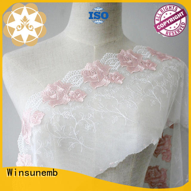 Winsunemb fabric guipure lace fabric producer for apparel