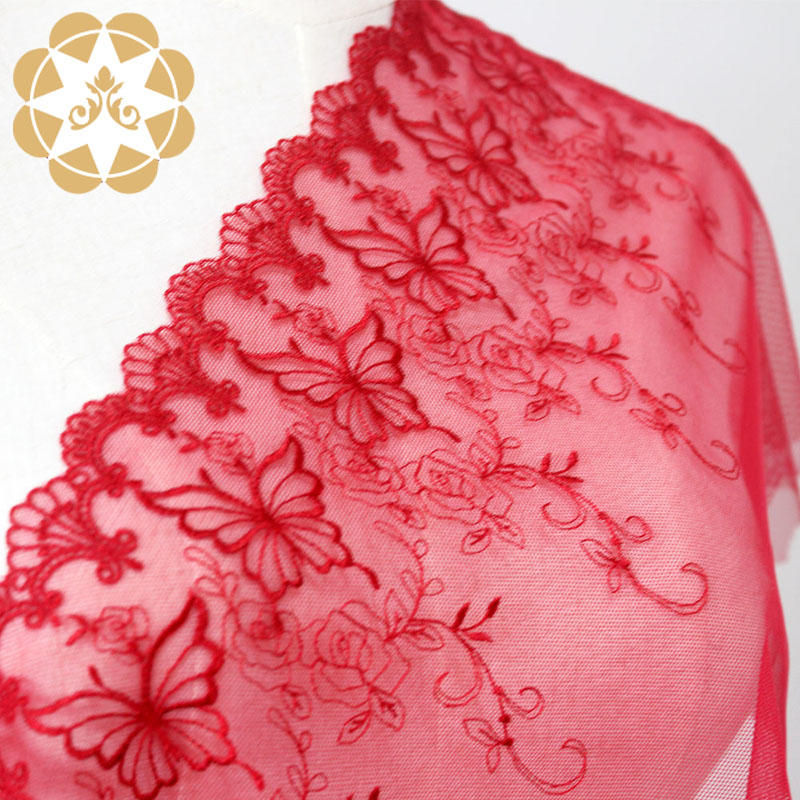 Winsunemb -High-quality Cotton Lace Fabric | Embroidery Lace Fabric Red French Mesh Fabric-2