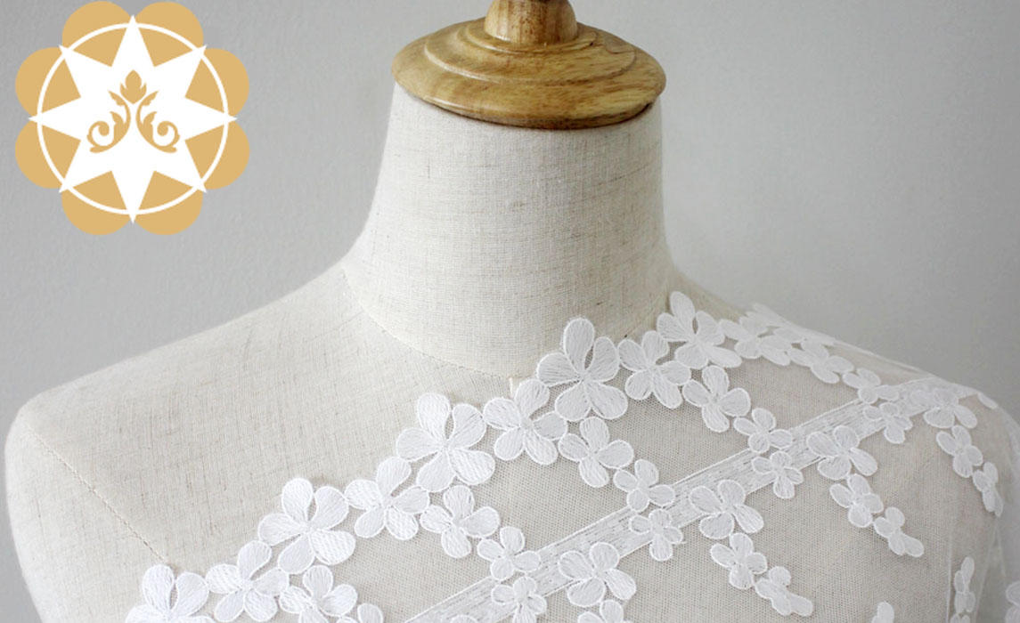 Winsunemb -Lace Fabric Wholesale | Embroidery Lace Fabric Flower Childrens Wear Fabric-1