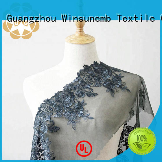 Winsunemb Brand gowns floral Embroidery Lace Fabric quality factory