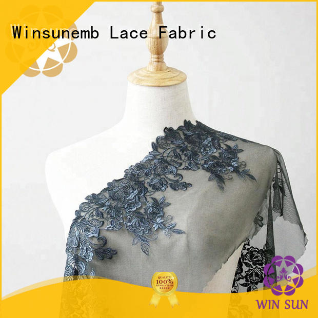 Winsunemb durable embroidered lace fabric by the yard for underwear