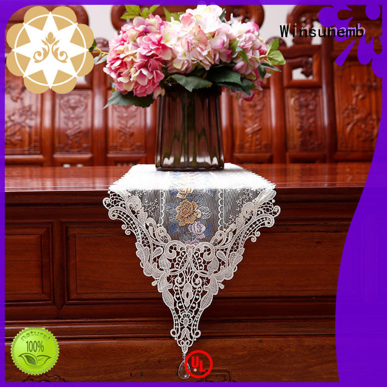 Winsunemb Brand floral newest white lace table runner rose