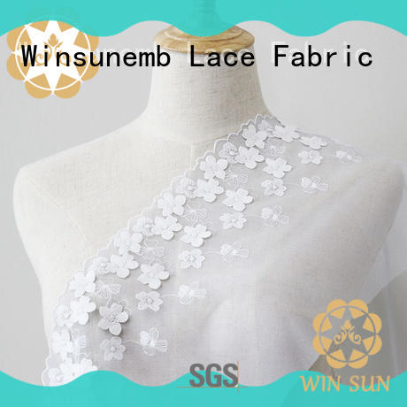 Winsunemb lace fabric wholesale bulk production for apparel