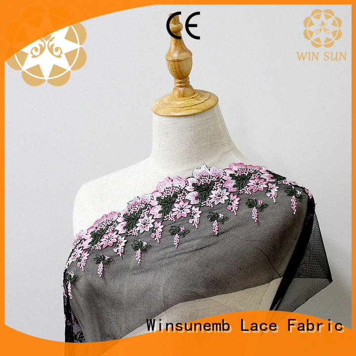 Winsunemb durable embroidered lace fabric by the yard in china for underwear