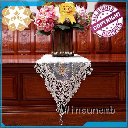 Winsunemb Brand bridal rose white lace table runner floral