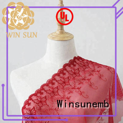 floral clothing net Winsunemb Brand Embroidery Lace Fabric supplier