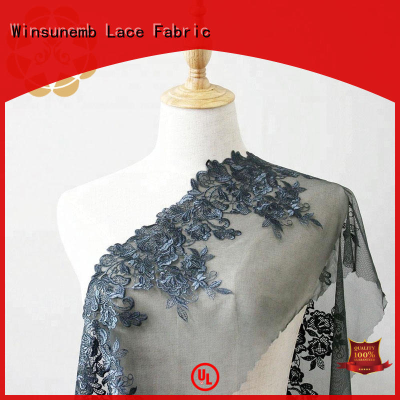 Winsunemb embroidered lace fabric by the yard for manufacturer for underwear
