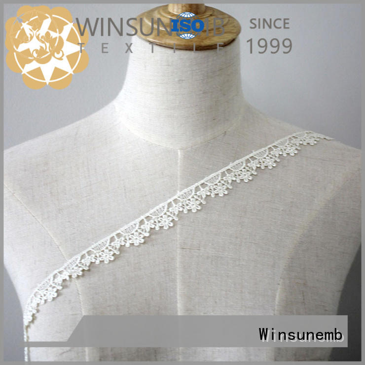 Embroidery Lace Trim Hollow Cut Floral Embroidery White Lace Trim