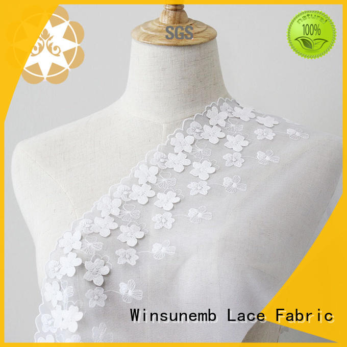 Quality Winsunemb Brand cut Embroidery Lace Fabric