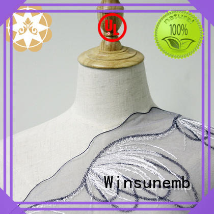 Winsunemb Brand polyester water cut Embroidery Lace Fabric