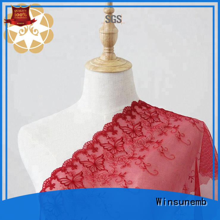 Winsunemb coral white lace fabric bulk production for underwear