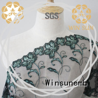 Winsunemb embroidered lace fabric by the yard producer for underwear