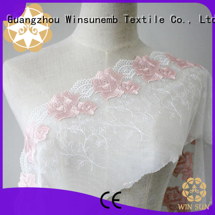 red lace fabric french flower Winsunemb Brand company