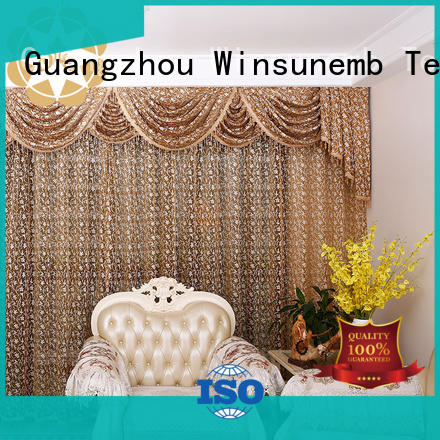 Winsunemb Brand embroidered inches designs white lace curtains sublimation