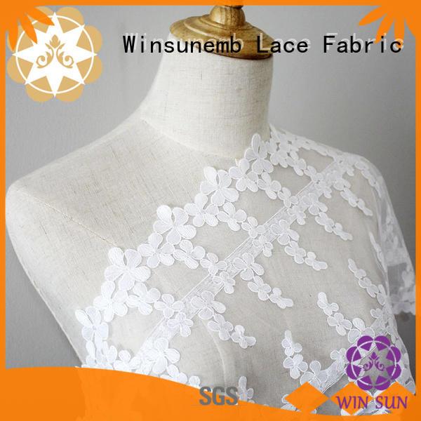 Winsunemb Brand bright flowers water red lace fabric