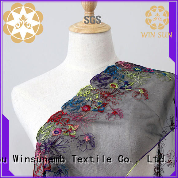 Winsunemb flower lace fabric wholesale order now for apparel