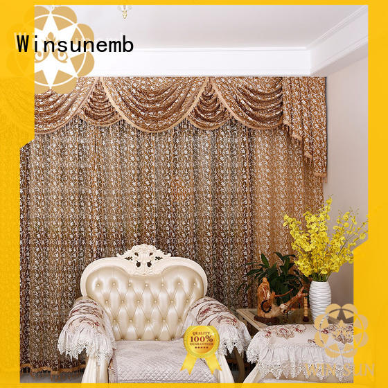 Winsunemb half Embroidery Lace Curtains dropshipping for window