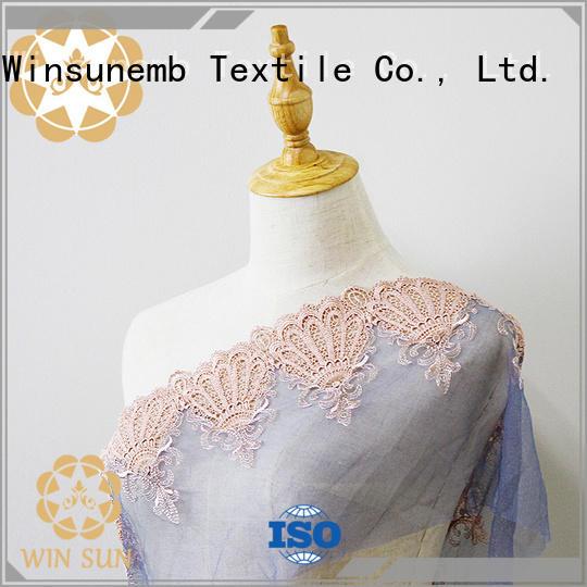red wear Embroidery Lace Fabric Winsunemb Brand
