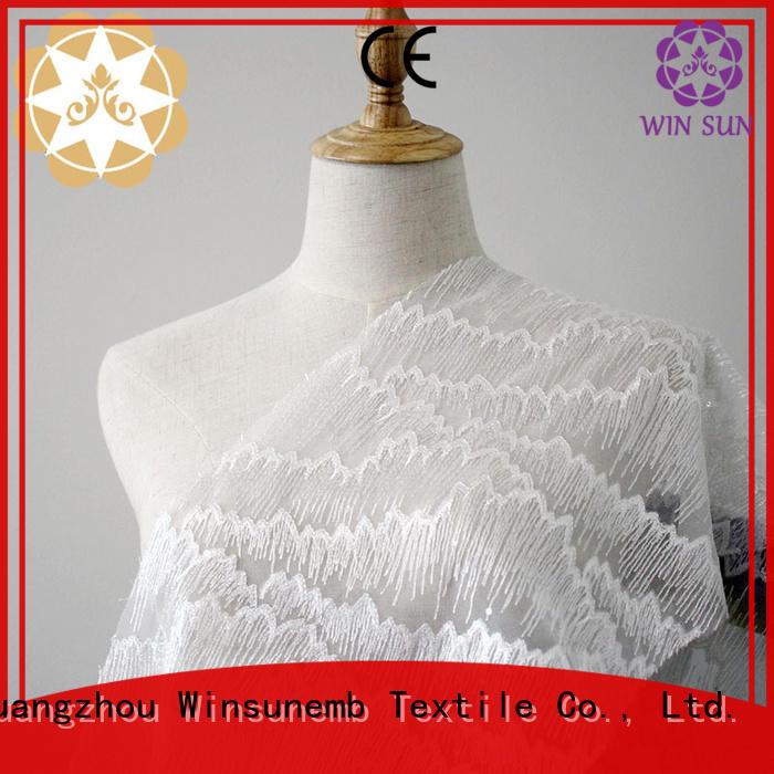 Custom lingerie green Embroidery Lace Fabric Winsunemb cut