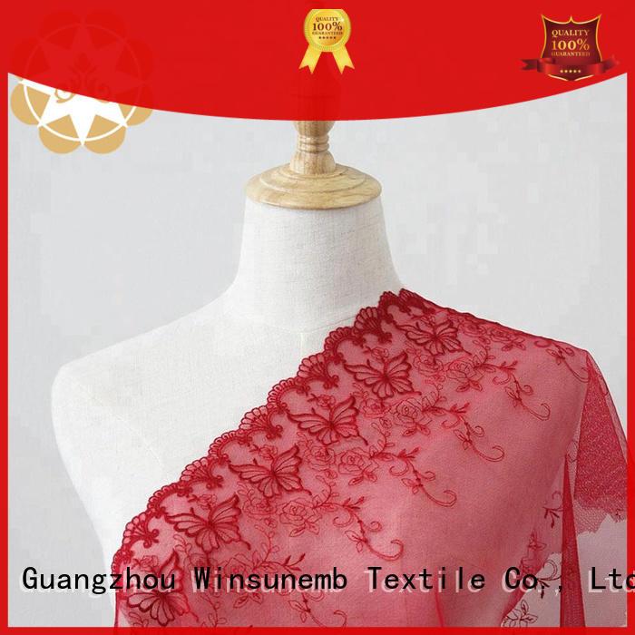 Winsunemb Brand wear net Embroidery Lace Fabric bright factory