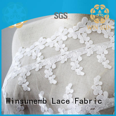 graceful colorful floral Winsunemb Brand Embroidery Lace Fabric