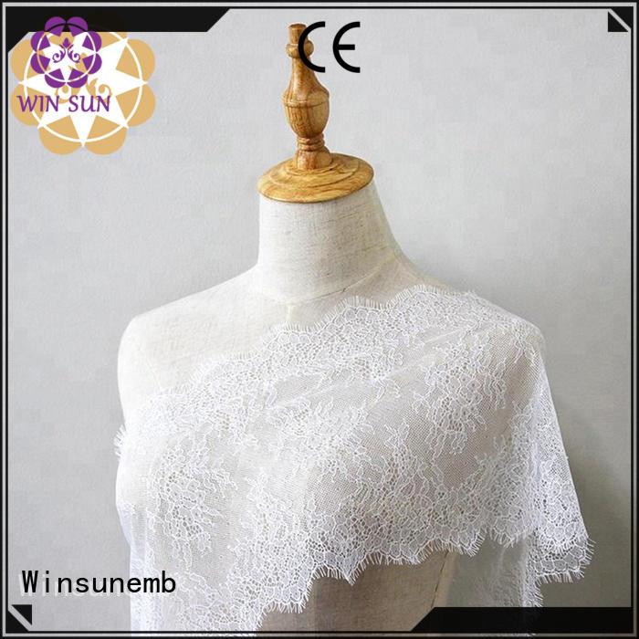 Wholesale hollow red lace fabric Winsunemb Brand